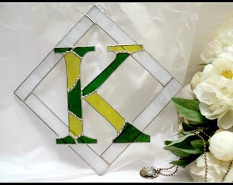 Stained Glass Initials in Green Bay Packer colors