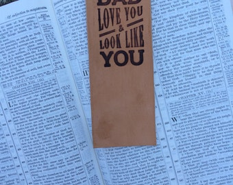Leather Bookmark -Prayer for Dad - Branded Tanned Leather