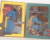 RESERVED for Bill --Vintage Mexican Style Painting on Redwood 1940's Tourist Piece Souvenir Art Man in Sombrero Wall Decor Wood Carving
