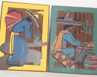 Vintage Mexican Style Painting on Redwood 1940's Tourist Piece Souvenir Art Man in Sombrero Wall Decor Wood Carving