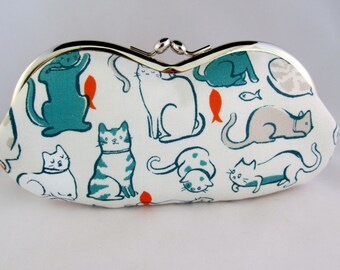 Lazy Cats Cat Lover Gift - Soft Eyeglass Case - Eye Glass Case - Sunglasses Case - Cute Glasses Case - Sunglass Case - Kiss Lock