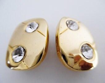 21% OFF :) BLING WE Love . Minimalist Metal Clip On Earrings Clips Unique Rhinestone Crystal Art Deco Modernist Retro Vintage 80s