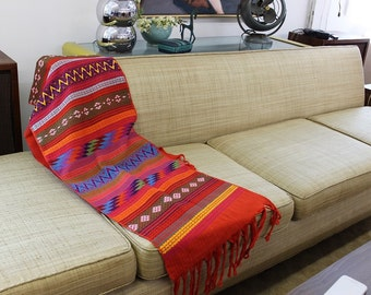 Guatemalan textile runner for sofa, table or credenza colorful orange and pinks