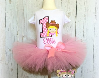 Cowgirl birthday outfit - 1st birthday cowgirl tutu outfit - pink and brown cowgirl tutu outfit - personalized cowgirl themed outfit