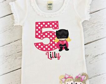 Super hero bat birthday shirt - pink bat hero shirt - girls birthday shirt - girls superhero embroidered birthday shirt - girl bat shirt