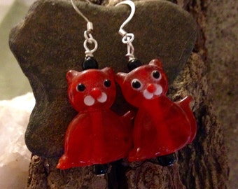 Whimsical Lampwork Cat Earrings Translucent Red