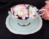 Gorgeous Paragon Tea Cup -- Pink and Blue Handpainted Flowers on Black -- Cup and Saucer -- English Tea Cup