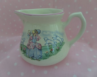 Vintage Hall Pitcher -- Little BoPeep -- Nursery Decor -- Vintage Nursery Rhyme -- Collectible -- Milk Jug
