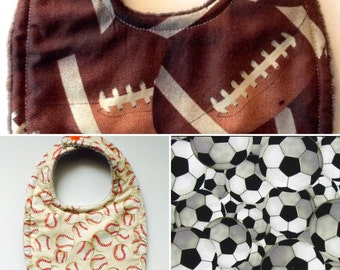 Baby Bib in Football/baseball/Soccer Triple Layer Super Absorbent choose minky, cotton terry, or flannel backing