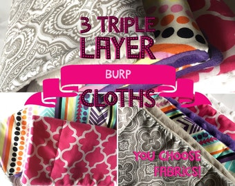 Burp Cloths Girls You Pick 3 cotton prints and choose the backing material, triple layer design