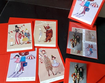 Set of 4, Circus Greeting Cards, A6 with a Set of matching Envelopes