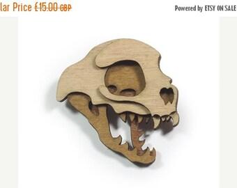 SALE Cat Skull Brooch