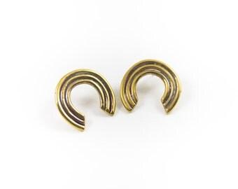 Iconos Earrings || Gold Crescent Stud Earrings