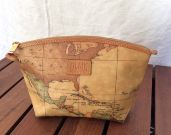 Vintage Genuine Alviero Martini World Map Tan Canvas and Than leather trim Shoulder Strap Crossbody Bag Made in Italy