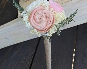 Flower Wand, Flower Girl, Toss Bouquet , Alternative Natural Bouquet, Keepsake Wood Bouquet, Shabby Chic Rustic Wedding