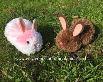 Pom Pom Bunnies - Easter Bunnies - Easter Basket Stuffers