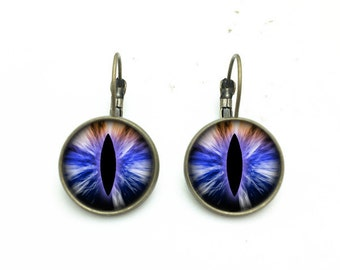 1 pair of 16mm Handmade Photo Glass Cabochon French Earwire Earrings Eye