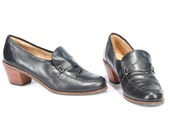 Black Leather Flat Shoes 80s Vintage Women FLATS Chunky Stable Cuban Heel Wide Fit Penny Tomboy Loafers Heeled 1980s sz Us 8.5, Eur 39, Uk 6