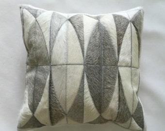Cowhide Pillow - Gray White Patchwork Cushion - 17 x 17 in