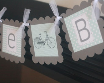 "Vintage Bicycle Bike Grey & Aqua Mint Blue Chevron Polka Dot ""It's a Boy"" Baby Shower Banner - Ask About our Party Pack Special"