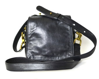 Black Mini Crossbody Purse - Vintage 90s DKNY Leather Bag -