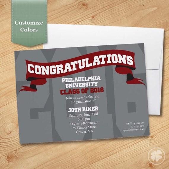 Graduation Invitation, High School, College, Graduation Party, Custom Invite, Printable, Printed, Class of 2016 - Ribbon Banner