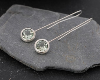 Green Amethyst Earrings - Dangle Earrings - Green Gem Earrings - Amethyst Drop Earrings - Lollipop Earrings in Sterling Silver Free Shipping