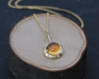 Citrine Gold Necklace - 18K Gold Citrine Necklace - Yellow Gemstone Pendant Necklace in 18k Gold - Cabochon Necklace - Free Shipping