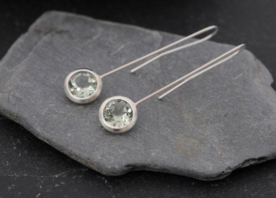 Green Amethyst Earrings - Dangle Earrings - Green Gem Earrings - Amethyst Drop Earrings - Lollipop Earrings in Sterling Silver Free Shipping