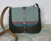 New Mexico-- Crossbody messenger bag //  Adjustable strap // Vegan purse // Stripes // Teal // Made to order