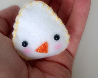 White Chick Bird Animal Figurine Stuffed Animal Ooak Doll Miniature Cute Small Easter Egg Gift