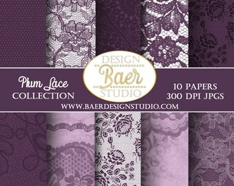 50% off:LACE DIGITAL PAPER, Plum Lace Digital Paper, Purple Lace Digital Paper, Wedding Digital Paper, Shabby Chic Digital Paper, #81516