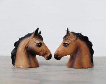Vintage Ceramic Horse Head Salt and Pepper Shakers - Retro Kitchen Collectibles - Japan Ceramics