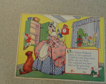 B128)  Original Anne Rochester Print  Old Mother Hubbard 1930
