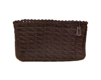 Vintage Brown Crochet & Lucite Zipper Pull Clutch Portfolio Handbag // 1940's Chocolate Brown Gimp Knit Purse