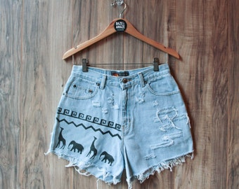 Elephant denim shorts |High waisted denim shorts | Painted denim | Aztec tribal denim | Hipster shorts | Festival shorts | Bohemian shorts