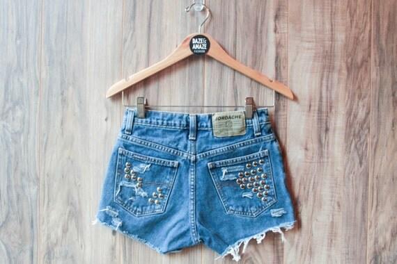 Studded denim shorts | High waisted denim shorts | Silver studded shorts | Vintage denim shorts | Hipster shorts | Festival shorts |