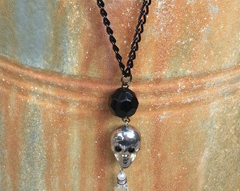 Upcycled Vintage Inspired  Halloween Treasure Skull Necklace 1947