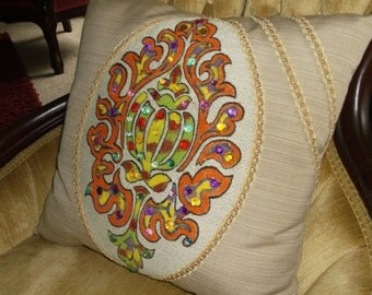 Hand Painted Stuffed Pillow With Craft Stones, Lots Of Color, two Tone Fancy Trim, two Fabrics, Stunning Statement Pillow,  Only 1 Avail.
