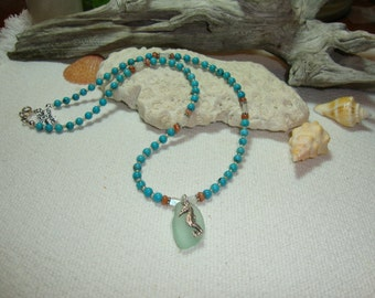Turquoise & Natural Sea Glass, Moonstone and Fire Sunstone with Seahorse