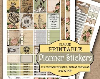 Steampunk Printable Planner Stickers JPG, PDF, Instant Download