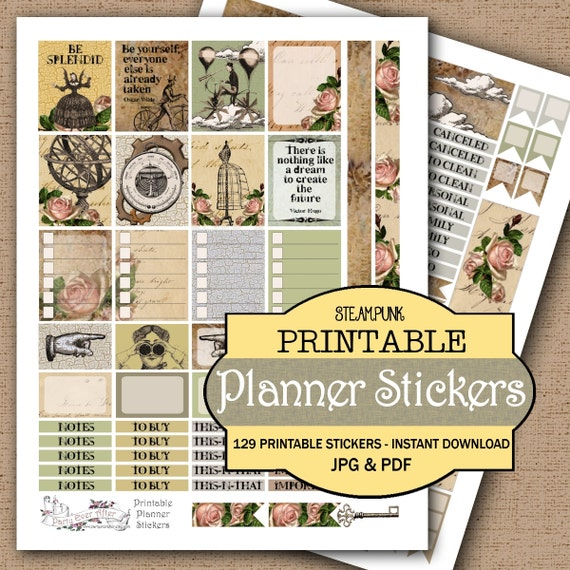 Steampunk Printable Planner Stickers