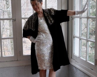Dior's New Look Vintage 1950s Black Velvet Opera Coat With Incredible Gold Lace Shawl Collar