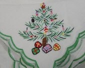 vintage linen napkins placemats Christmas tree cotton set of four each