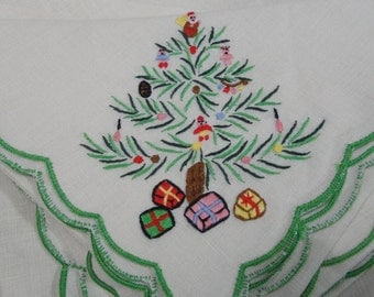 vintage linen napkins placemats Christmas tree cotton set of four each