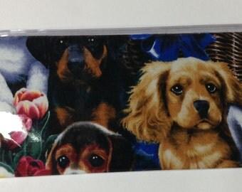 Checkbook Cover, Duplicate Checkbook Cover, Puppies, Vinyl Checkbook Holder,  Money Gift Holder