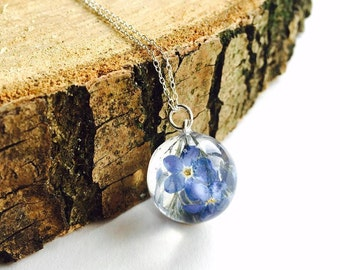 Forget Me Not Pressed Flower Necklace Resin Pendant terrarium Sterling Silver