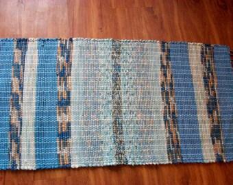 handmade loom woven rag rug long runner blue terra cotta  South Dakota made