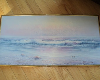 SUNRISE /  SUNSET Vintage Sofa Sized Original Oil Painting of A Beautiful Beach Landscape Scene in Pinks, Purples and Blues in Good Shape