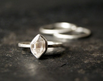 Clear Herkimer Diamond Ring in Brushed Matte Sterling Silver - Set of 3
